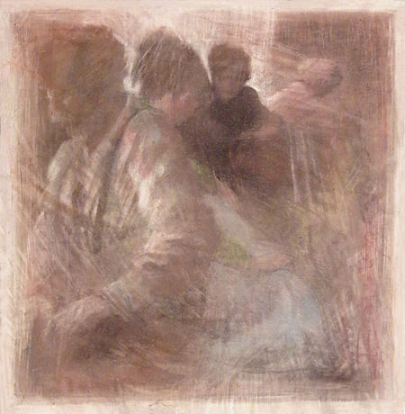 "Meri Bourgard, ""GATHERING I"" (2009) - pastel and graphite on spackled panel"